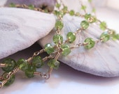 Peridot and 14k GF Wire Wrapped Gemstone Necklace 37 Xtra Long Inches For Layering OOAK Gifts for Her from Leaping Frog Designs