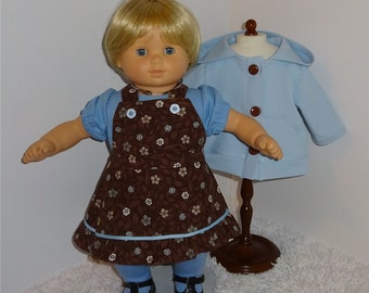 """Blue and Brown Four-Piece Jacket Set, Fits 15"""" Bitty Dolls // Girl Doll Clothes, Twin Girl Jacket, Jumper, Tights, Blouse, American Girl"""