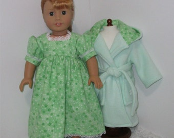 """Mint Green Robe and Slippers with Flannel Nightgown, Fits 18"""" Dolls // AG Nightgown Set, American Girl, Slippers, AG Doll Clothes, Sleepwear"""