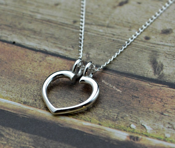 sterling silver heart ring keeper necklace by wiredoutdesigns