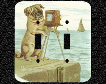 A Pug at the Beach with Camera Double Light Switch Plate Covers Toggle Rocker or Outlet