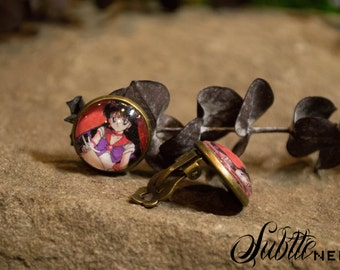 Sailor Mars Clip-on Earrings inspired by Sailor Moon