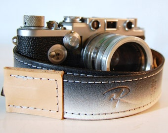 Camera Strap Deluxe Stitched Black and White Leather Custom Monogram Engraving for Photographers Ideal for DSLR Canon Nikon and all Cameras