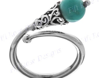 Adorable Turquoise 925 Sterling Silver Sz 7 Ring