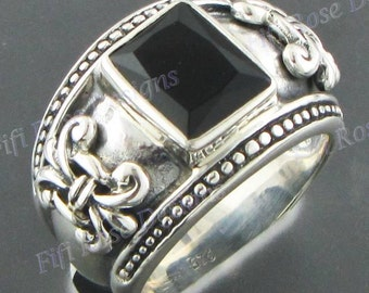 Adorable Square Onyx 925 Sterling Silver Sz 7 Ring
