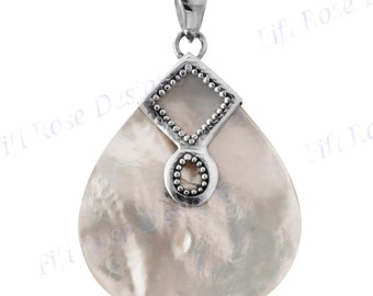 """1 13/16"""" White Mother Of Pearl Shell 925 Sterling Silver Pendant"""