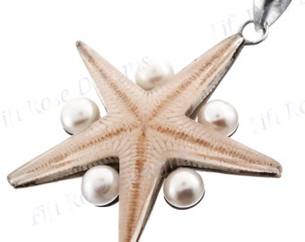 "2 1/4"" Real Seastar Starfish Freshwater Pearl 925 Sterling Silver Pendant"