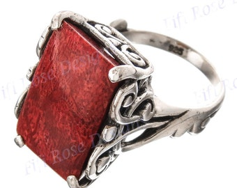 Bright Red Coral 925 Sterling Silver Sz 6 Ring