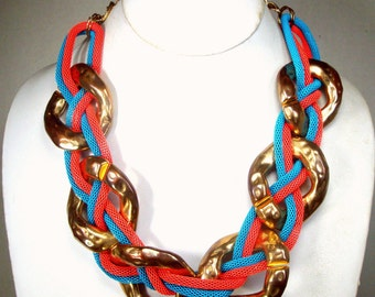 Punk Pink Aqua Gold Large Chain Necklace, Now Adjustable Length, Psychedelic Colors Mod Metro Tribal Large Dramatic Loops