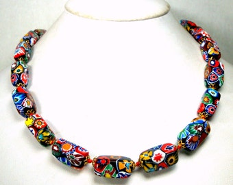 Vintage Venetian Glass Millefiore Necklace.1960s, Murano Rectangle Tube Beads, So Many Colors, Thousand Flowers, Italian End Of Day Beads