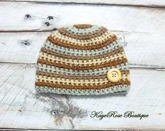 Newborn to 3 Month Old Baby Boy Crochet Wood Button Hat Brown Stripes