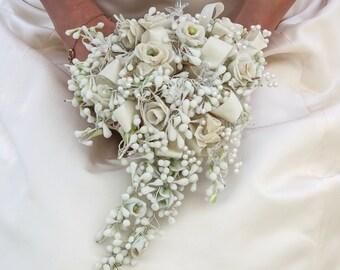 Vintage Ivory Wax Flower Bridal Bouquet, Vintage Wedding Bouquet Ivory with Wax Flower Roses and Glass flowers