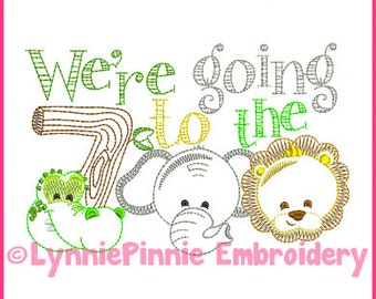 We're Going to the ZOO Colorwork Embroidery Design 4x4 5x7 6x10 Machine Embroidery Design