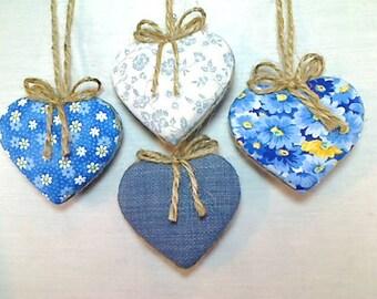 Blue Heart Ornaments | Party Favors | Wedding Bridal | Valentine's Day | Tree Ornament | Handmade Ornament |  Christmas | Set/4 | #2