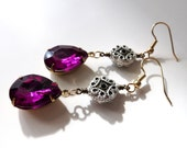 Amethyst Purple Vintage Inspired Jewel Dangle Earrings // old Hollywood glamour, costume jewelry, bold gemstone, cocktail party earrings