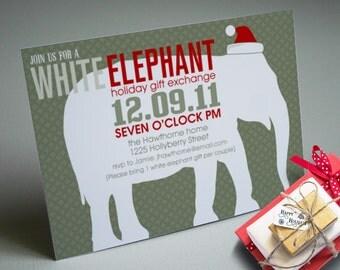 Printable White Elephant Christmas party invitation