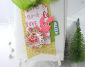 Flower Tag Handmade Blank Card~green~yellow~pink~blue~pretty packaging~lovely~scrapbook planner