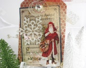 Old World St. Nick Santa Claus Holiday Christmas LUXE Large Art Gift Tag~Red~Cream~Clear~pretty packaging