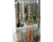 Jewelry Holder, Hangs 30 - 120 Necklaces, Oak Hardwood, Pick Your Stain, Wood White Holder, Necklace Organizer Wall Mounted, Solid Hardwood