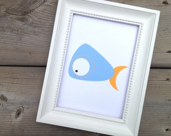 Blue Whale Print, Wall Art Animal, Ocean Creature, Cute Nautical Poster, Baby Nursery decor, Childrens Art Print