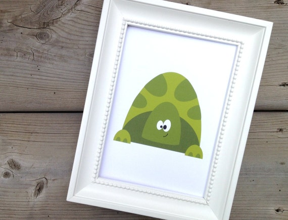 Green Turtle Print, Childrens Art Print, Kids Nursery Picture, Reptile Poster