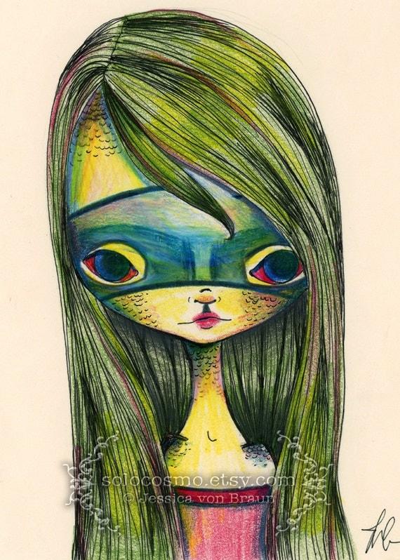 ACEO ATC Artists Trading Card - 'Green Girl' - Little Green girl in Green Mask - Alligator girl superhero -  Fine Art Mini Print 2.5x3.5