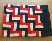 Red White Blue Quilt Started Twin Size 90X66