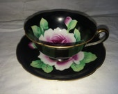 Black Cup and Saucer with Rose Centers Handpainted