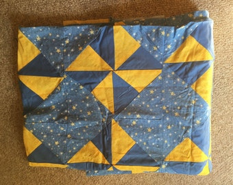 Blue and Yellow Star Quilt Started 80 X 66