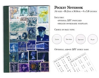 Blue Pocket Notebook, A6 Travel Notebook - Blue Ombre World Postage Stamp Print Cover - Lined Pages, Recycled Paper - Eclectic Office gift