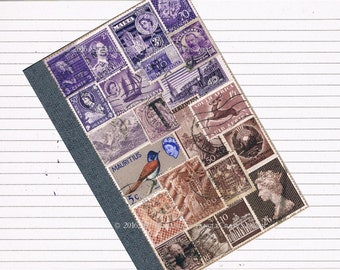 Upcycled Collage Journal | Lined A6 Writing Notebook | Recycled Postage Stamp Art | Purple Brown Boho Office Art | Penpal Writer Travel Gift