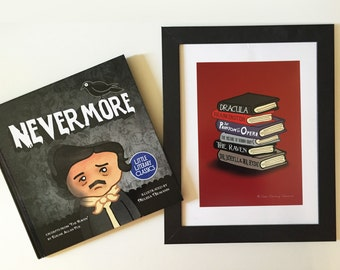 Horror Classics Book Stack illustration photo art print unframed Edgar Allan Poe The Raven Frankenstein Dracula  Illustration