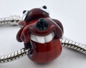 Brown Dog Big Hole Bead, Brown Glass Dog with Smile, 5mm Hole Bead  from Izzybeads SRA UK