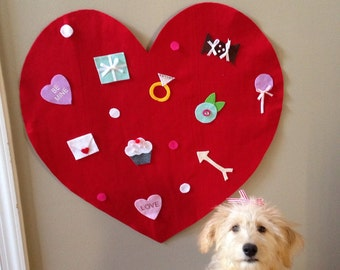 Large felt heart with ornaments