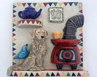 Home Decor Wall Tile, Ceramic Art Tile, Ceramic Tile, Dog Art,