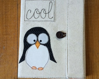 Penguin Covered Composition Book with pen, notebook, journal, guest book, cute notebook, applique, free motion sewing penguin journal