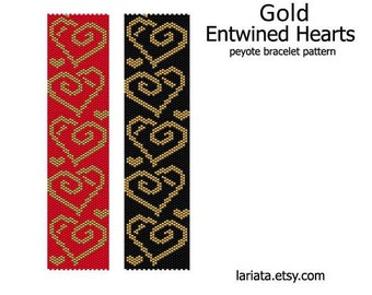 Gold Entwined Hearts - Peyote Bracelet Pattern - INSTANT DOWNLOAD