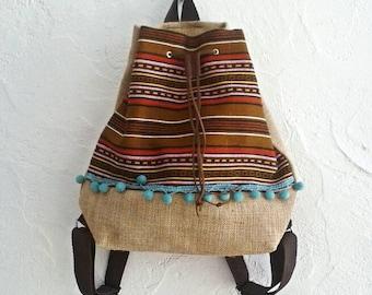 Boho Backpack in Brown. Boho Fabric Bag. Hobo Bag Bohemian Style. Drawstring Bag. Gift for Her. Womens Gift. White Woven Ethnic Bag.