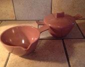 Cocoa Brown Creamer and Sugar Bowl Set Plasticware by Melmac