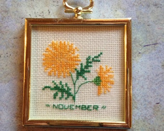 Tiny Square Framed November Counted Cross Stitch Picture