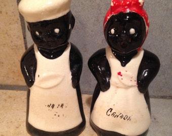 African American Mammy and Joe Folk Art Salt and Pepper Shakers