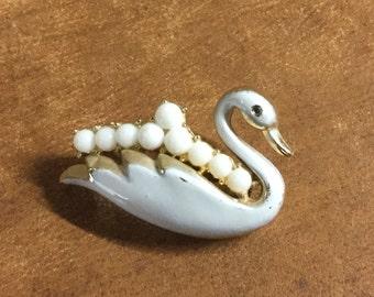Diminutive Signed Coro Dainty Small White Enamel Swan Brooch Pin 1950's 1960's Milk Glass Rhinestones Animal Figural Realistic Stylized
