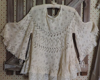 SOLD: Gyspy BoHo Angel Antique Lace Wedding/Top/Tunic/Blouse, Victorian, Vintage,