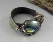 Fiery Organic Labradorite Cabochon Set in Oxidized Sterling Silver with Vintage Black Leather Band - Adjustable Toggle original unique edgy