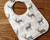 Buck Deer Reversible Baby Bib, Flannel, Triple Layer, Snap Closure, ready to ship