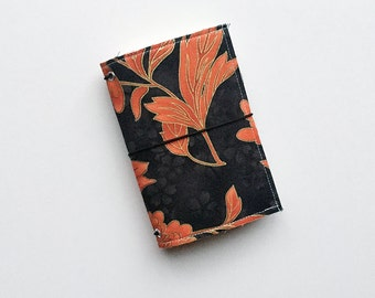 NEW - asian floral small fauxdori fabric travelers notebook cover, notebook included