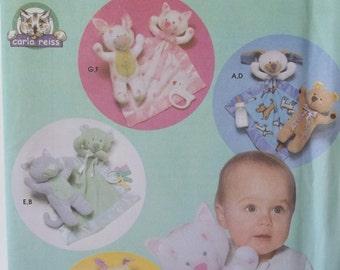 "Stuffed Animals Pattern Simplicity 5514 Craft Pattern Stuffed Toy 12"" Bear, Bunny, Cat or Dog, Soft Toy Craft Matching Animal Cuddle Blanket"