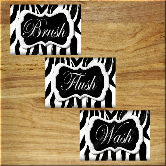 Zebra print wall art bathroom decor print wash brush flush for Zebra bathroom decor