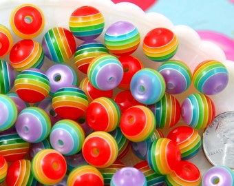 Rainbow Beads - 14mm Striped Resin Beads, rainbow color, super cute beads - 35 pc set