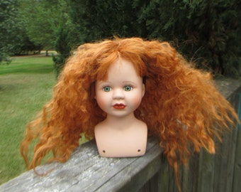 Vintage Lady Doll Head Shoulder Bust--Female Woman Doll Head--Brave Flaming Red Tangled Hair--Pretty Facial Details--Doll Restoration Parts